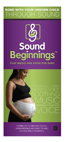 Sound Beginnings Belly Band The Best Way to Share Music with Baby in the Womb (Black, Size C)
