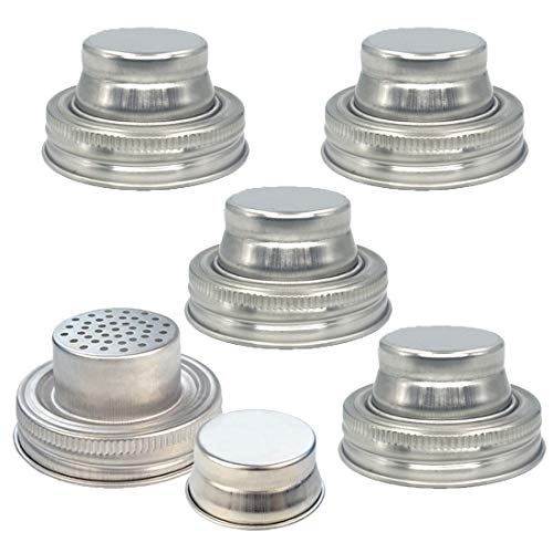 Jayoo 5 Pack Mason Jar Shaker Lid with Silicone Seals for Regular Mouth Mason Jars, Canning Jars - Cocktail Shaker Shake Dry Rub - Cocktail, Mix Spices, Dredge Flour, Sugar- Rust Proof Stainless Steel