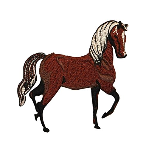 ID 0727Y Dark Horse Prancing Patch Farm Animal Mare Embroidered Iron On Applique
