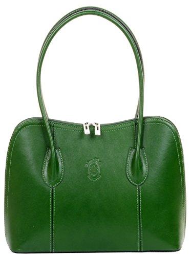 sac classique à cuir style cabas en Comprend Primo fait manche main Grab lisse ou de sac sac un de main à Sacchi bandoulière protection italien de rangement de marque à Vert long IHIz6x8