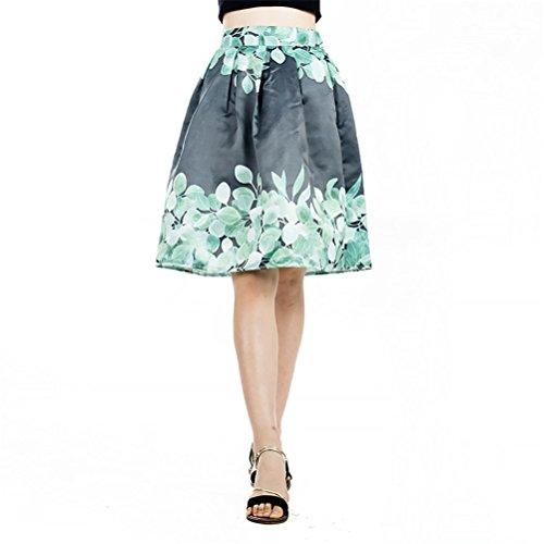 Rtro Femme FuweiEncore Imprime Evas Trapze Taille Elgante au Jupe Fonc Vintage Elastique Fleurs Vert Genoux 0wwqHC