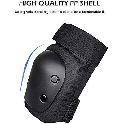 LAVAGO Adjustable Protective Knee Pads Kit for Children Teenager Adult, Protective Gear with Knee Elbow Wrist Pads Suitable for Skating Cycling Bike Rollerblading Scooter : Sports & Outdoors
