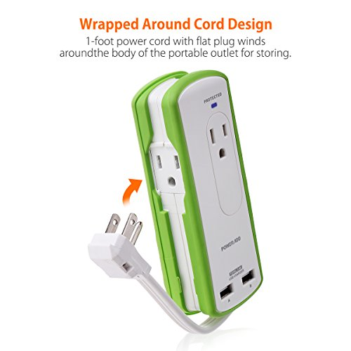Poweradd 2-Outlet Mini Portable Travel Surge Protector with Dual 3.4A Smart USB Ports, Wrapped Cord Design - UL Listed by POWERADD (Image #5)