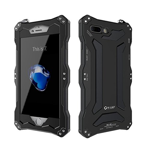 iPhone 7 Plus Case,Bpowe Gundam Gorilla Glass Aluminum Metal premium protection Shockproof Military Bumper Heavy Duty Sturdy Protective Cover Shell Case for iPhone 7 plus 5.5 inch (Black)
