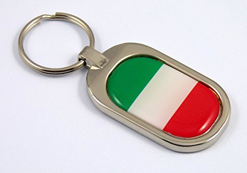 (Italy Flag Key Chain metal chrome plated keychain key fob keyfob Italia italian)