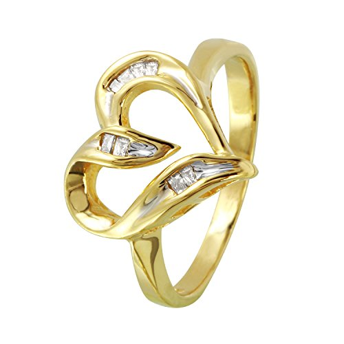 0.1 Carat Natural Diamond 14K Yellow Gold Heart Engagement Ring for Women Size 6.5 (Baguette 0.1 Ct Diamonds)