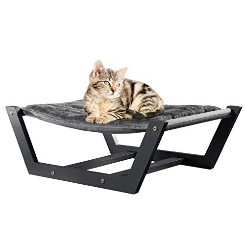 Cat Hammock Bed - Cat Bed for Indoor Cat with Plush Pillow [24x16in] Small - Medium Size Cats, Kitten, Mini Dog | Attractive & Sturdy