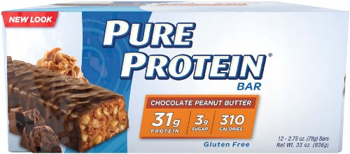 Pure Protein Bars, High Protein, Nutritious Snacks to Support Energy, Low Sugar, Gluten Free, Chocolate Peanut Butter, 2.75oz, 12 Pack