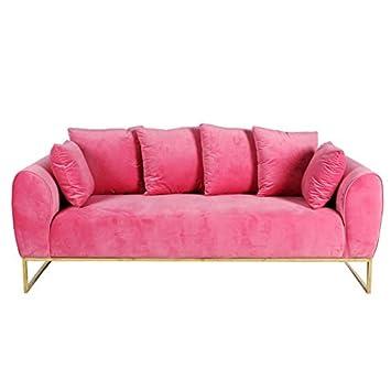 Muebles Marieta Sofá de Terciopelo Audrey Tres plazas Pink ...