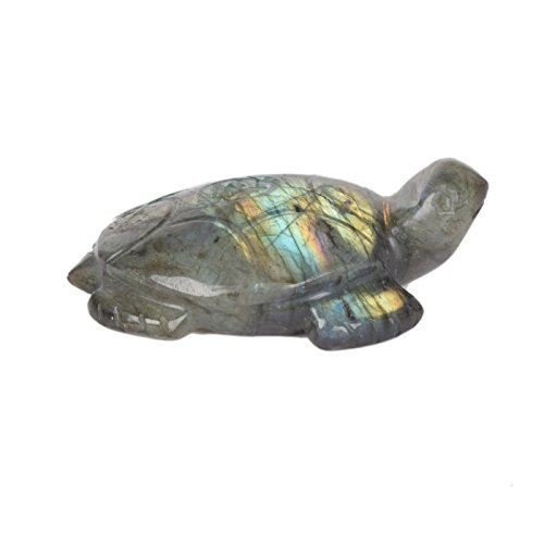 gemhub Hand Carved Lab Certified Labradorite Rainbow Turtle Approximately 397.00 Carat Carving Luck Fortune Healing Statue DE-261