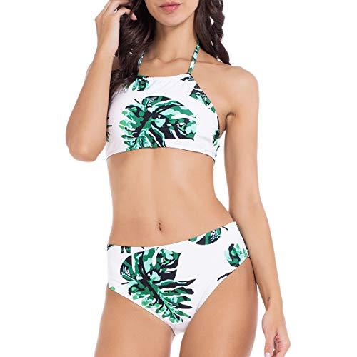 Lomantise Bikini Swimsuit for Women Two Piece Bathing Suits for Teens Halter High Neck White Swimwear White M