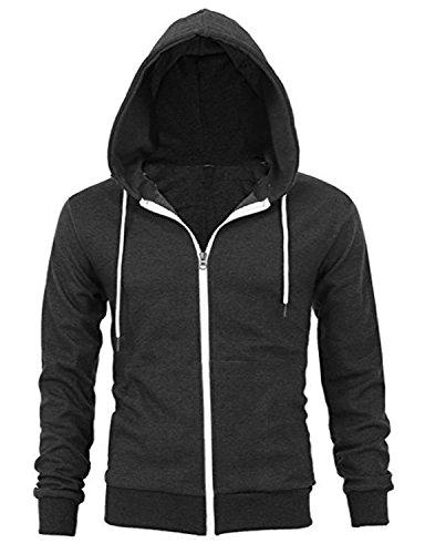 Just Cotton 300 GSM Lightweight 100% Cotton Fashion Zip up Hoodie Fleece Jacket with Inner Phone Pocket(Darkgrey,XL)