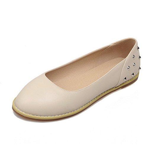 AllhqFashion Damen Ziehen auf PU Rund Zehe Ohne Absatz Gemischte Farbe Flache Schuhe, Schwarz, 37
