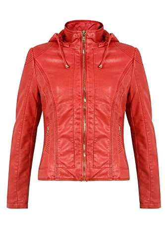 Avec Blouson Mode Rouge Capuche Fourré Intérieur Similicuir Femme Amovible Pour Go xqXwad5Zq