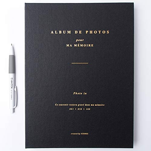 Photo in Photo Album with AHZOA Pencil, 50 Pages for 100 Photos, 7.9 x 10.7 Inches (Black)