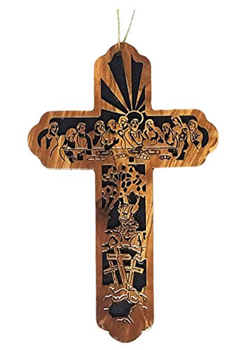 Museum of the Bible Olive Wood Last Supper Cross Holiday Ornament