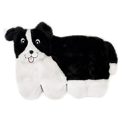 ZippyPaws Squeakie Pup 11-Squeaker No Stuffing Plush Dog Toy, Border (Border Collie Pups)