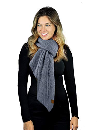 C.C Women's Boucle Knit Bias Cut Whipstitched Edged Long Scarf Wrap