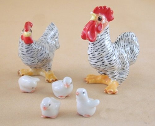 Dollhouse Miniatures Ceramic Bar Rooster Set FIGURINE Animals Decor by ChangThai Design