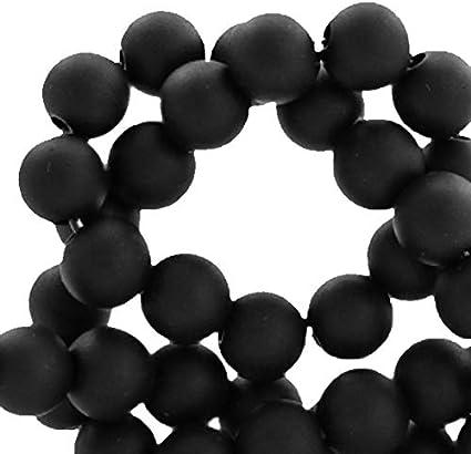 500 X 6mm Negro Acrílico Perlas