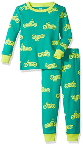 Amazon Essentials Baby Boys Long-Sleeve Tight-Fit 2-Piece Pajama Set, Motorcycle Dark Green/Lime, 18-24M ()