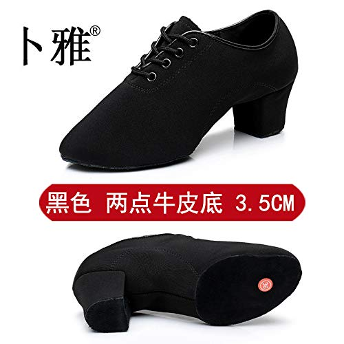 AVBGT Latin Dance Shoes Female Adult Oxford Cloth Heel Teacher Shoes Autumn and Winter,Black Two Bottom 3.5Cm Leather Bottom,Thirty-Eight