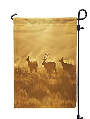 (Soopat Elk Deer Seasonal Flag, Elk Deer USA Antlers Autumn Deer Elk Fall Mammal North Weatherproof Double Stitched Outdoor Decorative Flags for Garden Yard 12''L x 18''W Welcome Garden Flag)