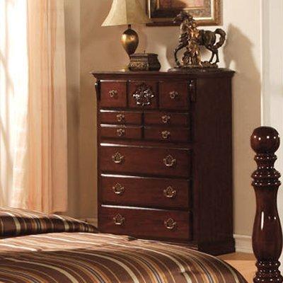 Tuscan Chest Dresser in Dark Pine Finish by Furniture of America - Pine 5 Drawer Dresser