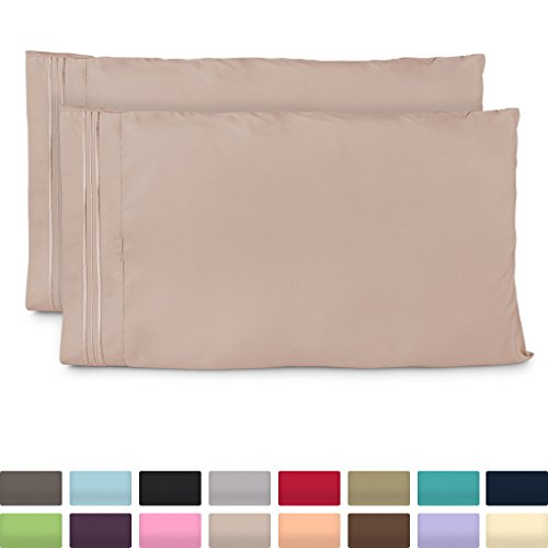 Standard Size Pillow Cases - Luxury Taupe Pillowcases - Fits Queen Size Pillows - Super Soft Hotel Luxury Pillow Case - Cool & Wrinkle Free - Hypoallergenic - Light Brown - Set of 2 (Chocolate Sheets Baby Transfer)