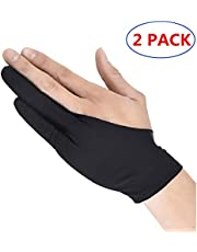 2 Pack Artist Glove Anti-fouling Two Fingers Graphics Drawing Tablets for Light Box/Graphic Tablet/Pen Display/iPad Pro Pencil