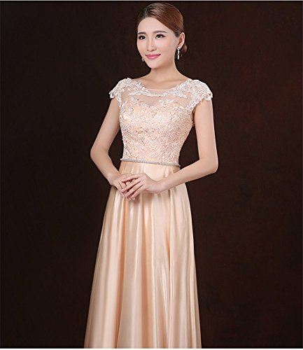 Evening Drasawee Long Scoop Satin Women's Gowns Gold Neck Formal Party Prom Dress YYFTqB
