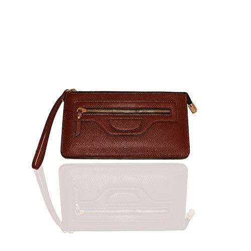 Carter Leatherworks Rodeo Womens PU Vegan Leather Wristlet Wallet Clutch Purse Fits Any Smartphone (Coffee) by Carter Leatherworks