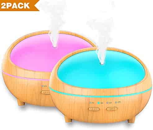 Essential Oil Diffuser, 2 Pack 300ml Wood Grain Aroma Diffuser Ultrasonic Cool Mist Aromatherapy with Timer, 7 LED lights Changing and Waterless Auto Shut-off for Home Spa Baby Bedroom (2 pack)