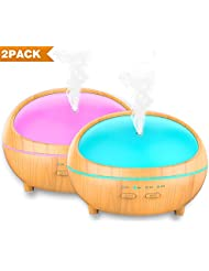 Essential Oil Diffuser, 2 Pack 300ml Wood Grain Aroma Diffuser Ultrasonic Cool Mist Aromatherapy with Timer, 7 LED lights Changing and Waterless Auto Shut-off for Home Spa Baby Bedroom