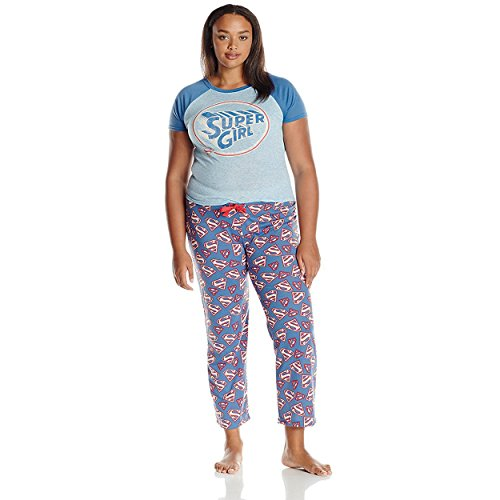 Supergirl Juniors Plus Pajamas Set (Teen/Adult),Blue,2X