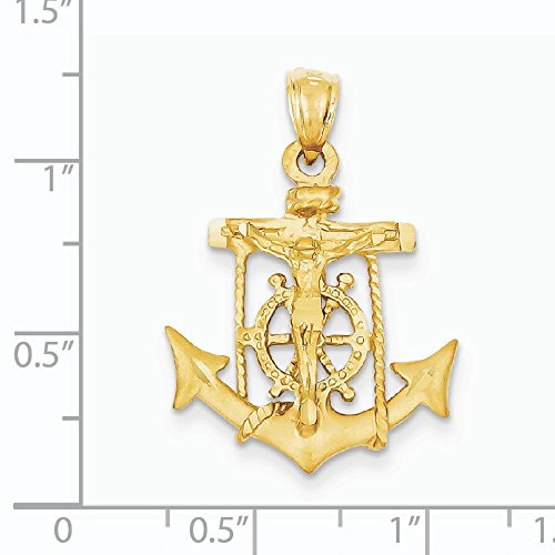 Les gens de mer 14 Carats Pendentif croix-Dimensions :  19,3 x 27 mm-JewelryWeb