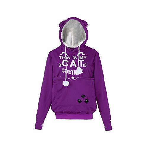 clearance sale!!ZEFOTIM Women CAT Letter Printed Plus Size Thicker Velvet Hoodie Drawstring Sweatshirt(Small,Purple) for $<!--$13.20-->