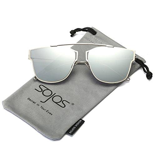 SojoS Classic Sunglasses for Women Men Metal Frame Mirrored Lens SJ2038 - Sunglasses Rose Mirrored Gold