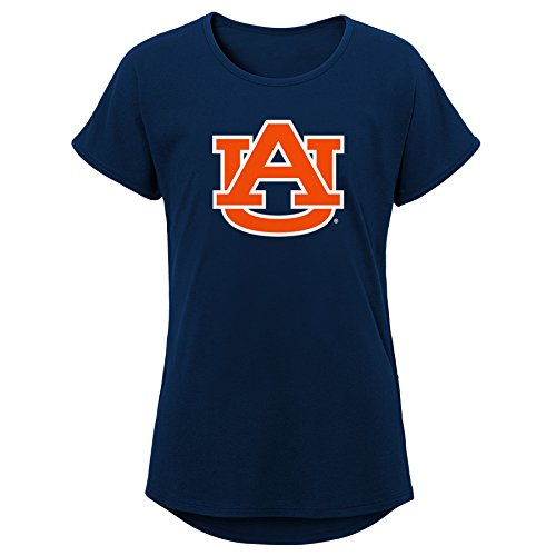NCAA Auburn Tigers Youth Girls Primary Logo Dolman Tee, Youth Girls Large(14), Dark Navy