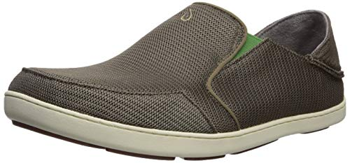OLUKAI Men's Nohea Mesh Slip-On Shoes, Mustang/Lime Peel, 10 M US