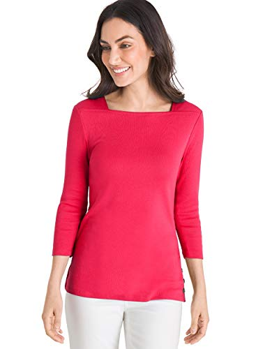 Chico's Women's Supima Cotton Side-Button Bateau-Neck Top Size 0/2 XS (00) Red ()