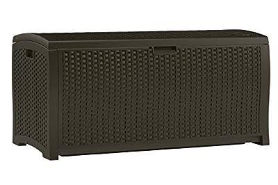 Suncast DBW9200 Mocha Wicker Resin Deck Box, 99-Gallon