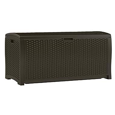 Suncast DBW9200 Mocha Resin Wicker Deck Box, 99-Gallon