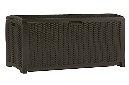 Outdoor Patio Storage - Suncast DBW9200 Mocha Resin Wicker Deck Box, 99-Gallon