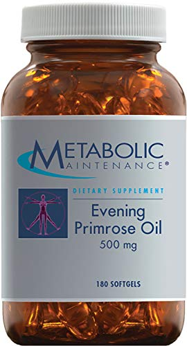 Metabolic Maintenance Evening Primrose Oil Capsules – 500 Milligrams, Cold Pressed GLA LA 180 Softgels