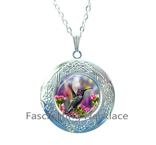 (Hummingbird Locket Necklace Colorful Flower with Bird Locket Pendant Fashion Jewelry Glass Cabochon Time Gem Natural Animal Charm,AQ181)