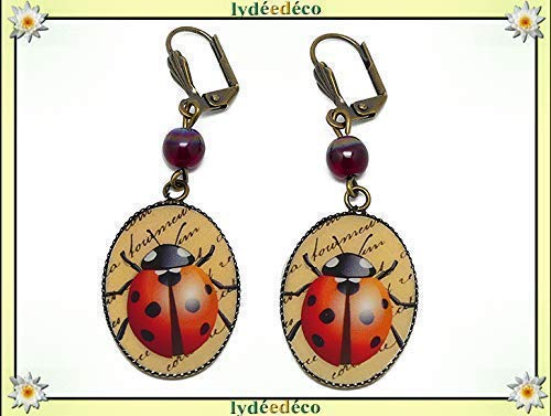 Pendientes resina Escarabajo escarabajo rojo negro latón cuentas de bronce regalos personalizados Navidad ceremonia de boda amigos madre cumpleaños invitados día de la madre parejas mujer
