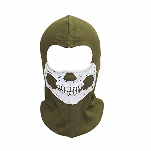 Zombie Army Costumes (New Print Adult Hat New Candy Color Full Face Masks Balaclava Motorcycle Wind Dust Grimace Reflective Ghost Mask army green)