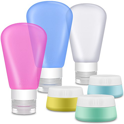 Portable Soft Silicone Travel Containers Set - IHUIXINHE 6 Refillable TSA Approved 60ml Silicone Travel Bottles and 20ml Silicone Cream Jar for Liquids - BPA Free for Shampoo, Lotion, Toiletries