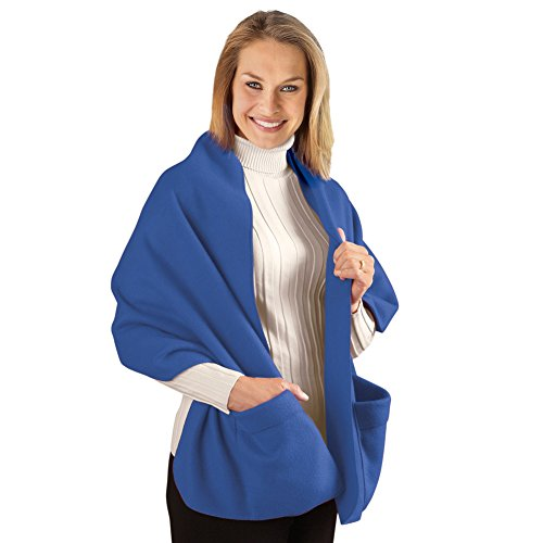 Cozy Fleece Wrap Shawl With Large Front Pockets - Keeps Hands and Shoulders Warm During Cold Winter Season, Royal Blue